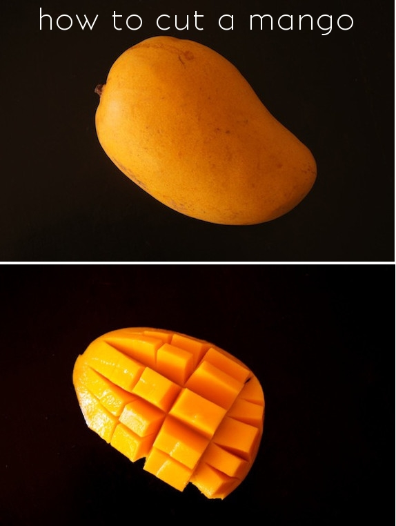 whole mango and dice half of a mango