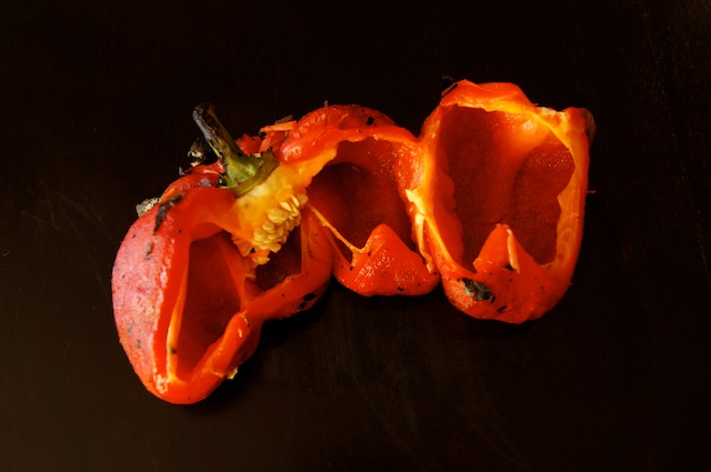 One roasted and peeled red pepper, cut in half.