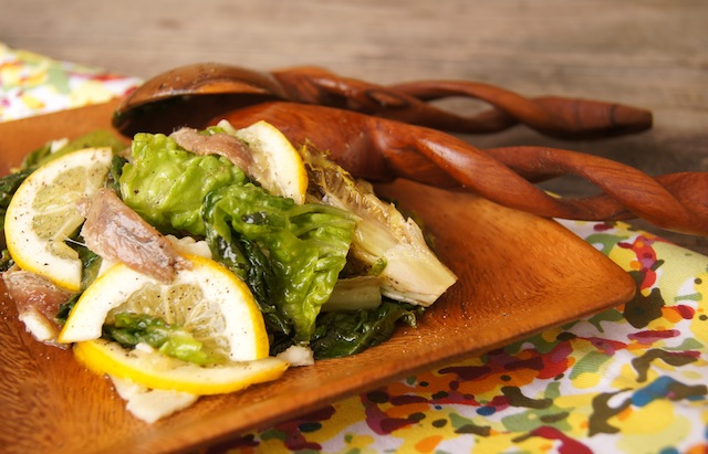 Grilled Romaine Anchovy Salad