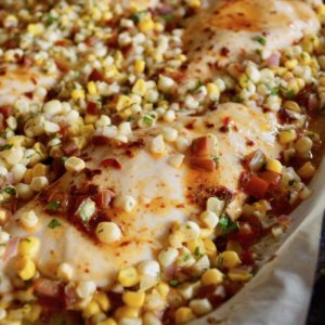 Sheet Pan Chipotle Chicken with Corn Salsa