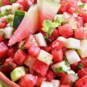 Watermelon Cucumber Salsa in a green bwol with brown rim