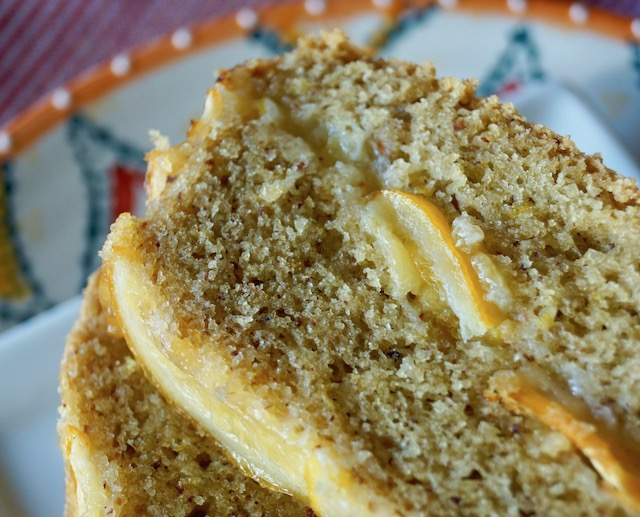 Super close up top view of 3 slices of Gluten-Free Meyer Lemon Cake with Olive Oil.