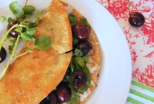 Fresh Cherry Watercress Quesadilla Recipe | Cooking On The Weekends