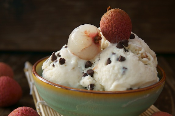 Lychee Chocolate Chip Ice Cream in a green bowl
