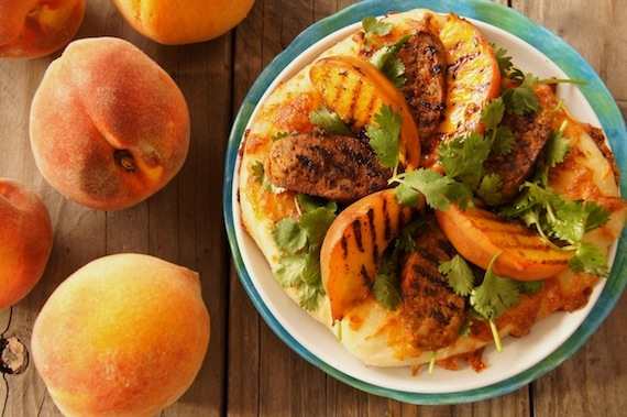 Post image for Grilled Peach and Chorizo Pizza