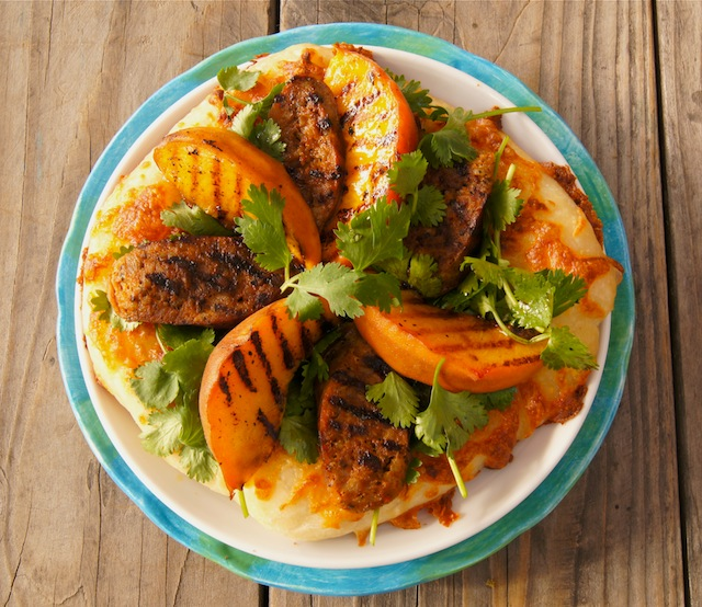 Grilled Peach and Chorizo Pizza
