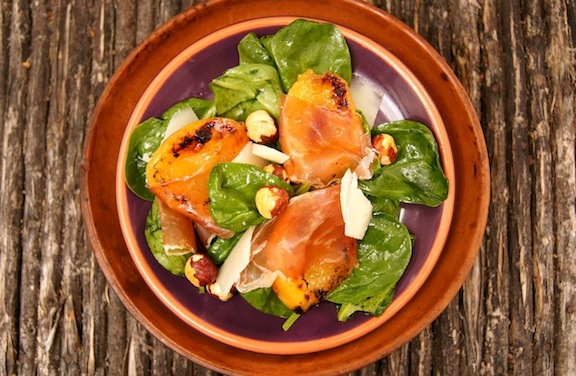 Honey Broiled Angelcot and Prosciutto Spinach Salad