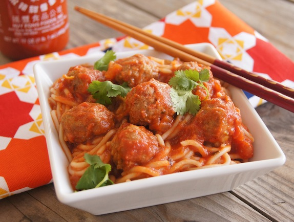 Spicy Sriracha Spaghetti and Meatballs