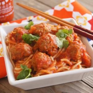 Spicy Sriracha Spaghetti and Meatballs