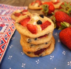 July 4th Recipe: Strawberry-Blueberry White Chocolate Chip Cookies