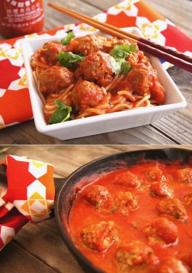 Spicy Sriracha Spaghetti and Meatballs with chopsticks in a white dish and a cast iron pan with more