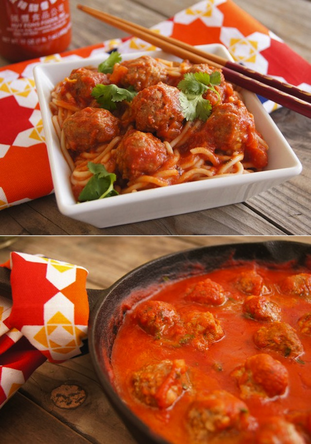 Spicy Sriracha Spaghetti and Meatballs in a cast iron skillet and in a white square bowl