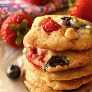 Strawberry Blueberry White Chocolate Chip Cookies