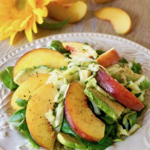 Peach and Avocado Salad with Zucchini