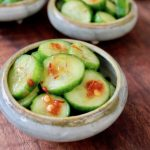 small bowl of spicy pickled cucumbers