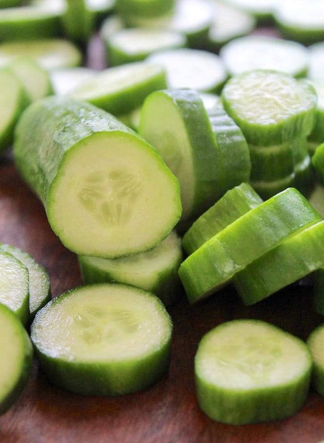 sliced Persian cucumbers