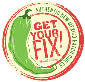 Sticker for Hatch Chiles that says Get Your Fix.