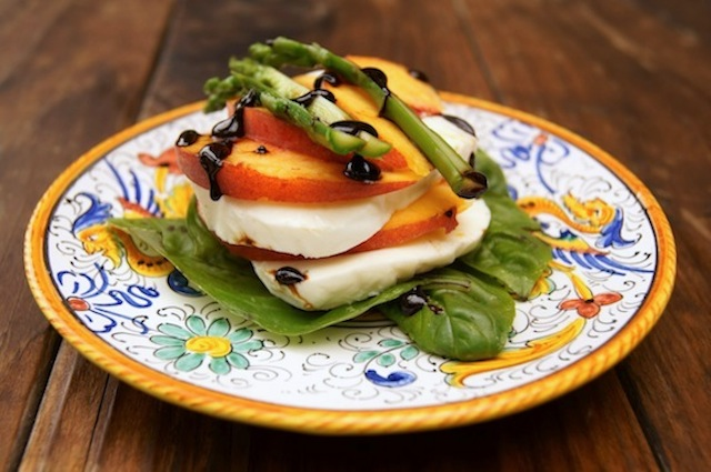 Balsamic glazed Peach Caprese