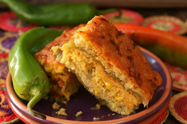 Roasted Hatch CHile Cornbread Casserole