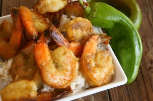 Hatch Chile Shrimp Sauté with Coconut Rice Recipe
