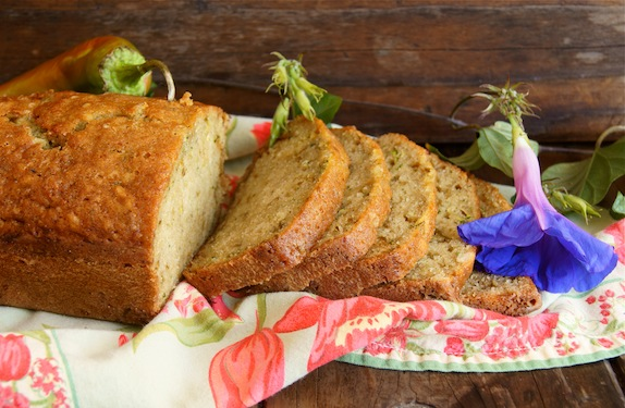 One loaf of sliced, Roasted Hatch Chile Zucchini Bread.