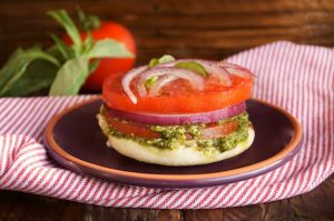 Summer Tomatoes: Tomato, Red Onion, and Pesto Open-Faced Sandwich
