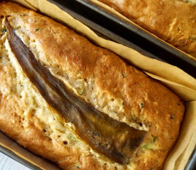 Baked Hatch Chile Zucchini Bread in loaf pan