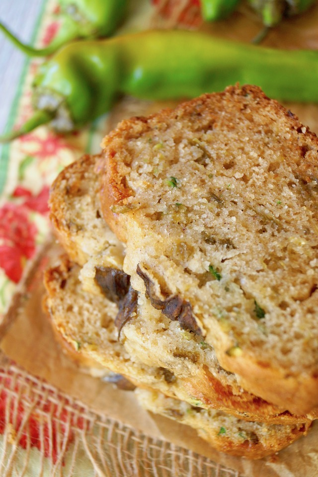 close up of three slices of Hatch Chile Zucchini bread