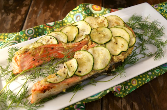 Post image for California King Salmon with Lemon-Caper Pesto and Zucchini