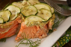 California King Salmon Recipe with Lemon-Caper Pesto and Zucchini