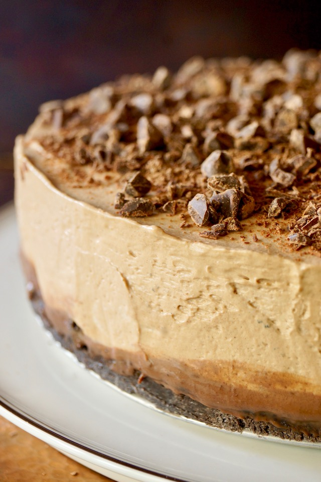 Close up of the edge of No-Bake Espresso Cheesecake with Ganache