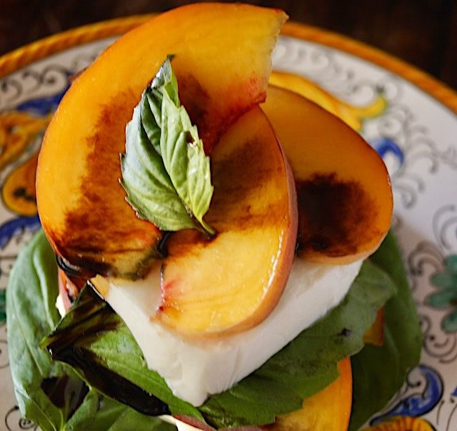 Close-up, top view of Peach Caprese Salad with Balsaic
