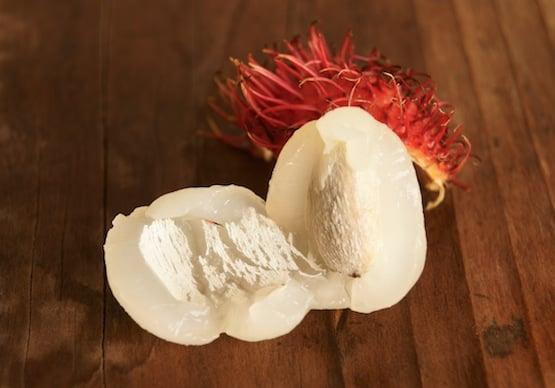 Fresh peeled Rambutan with pit showing.