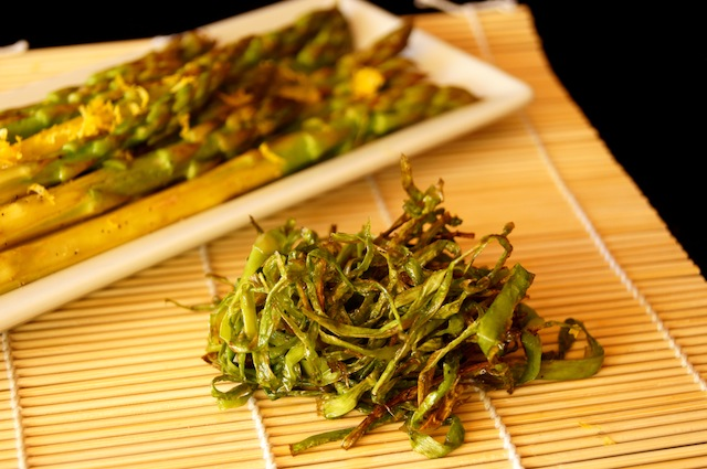 Citrus Steamed Asparagus and Crispy Asparagus Garnish