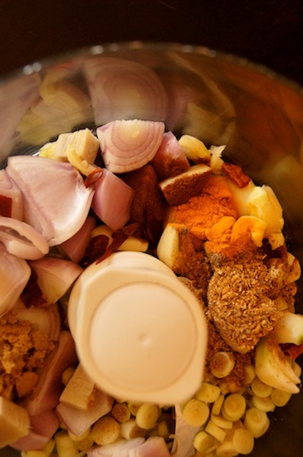 Easy Thai Curry Paste Recipe ingredients in a food processor
