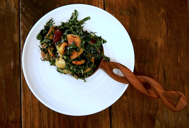Kale-Grape Salad with Thai Curry Vinaigrette, Potatoes and Honey Glazed Pistachios
