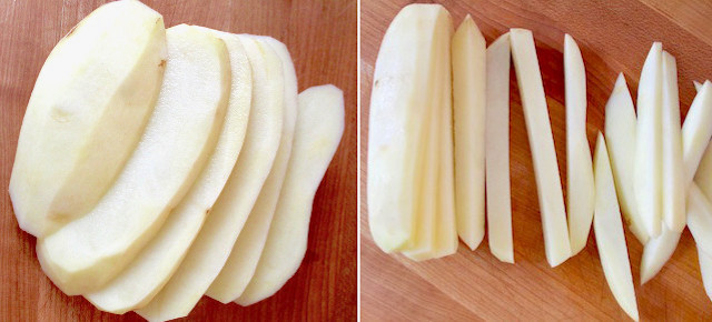 raw potato slices and sticks