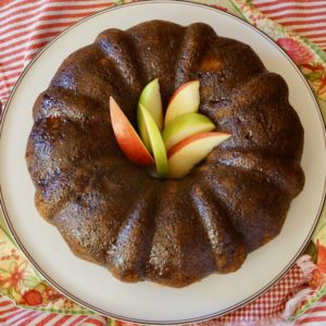 Top view of Chai Apple BundtCake with apple slices in the middle