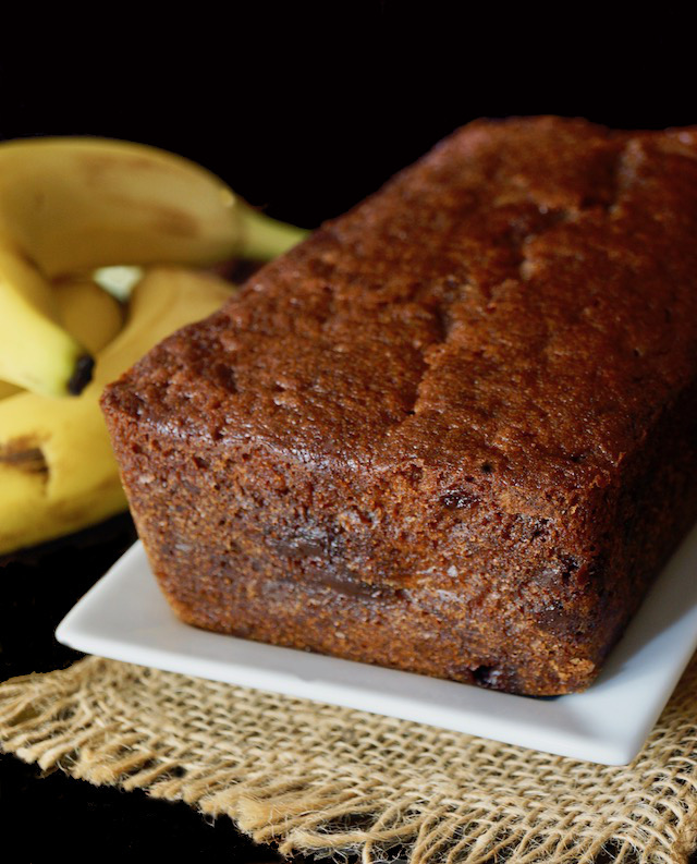 Whole Gluten-Free Banana Chocolate Chip Cake on a white plate