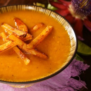 Friday Flowers: Passion Flowers and Roasted Pepper Potato Soup Recipe with Smoky Chipotle Parmesan French Fries