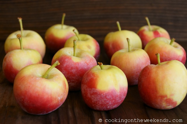 Several dull Crimson Gold Apples on a wooden surface.
