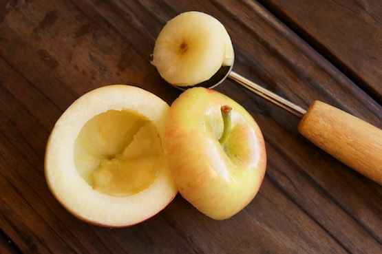 crimson gold apple with core scooped out