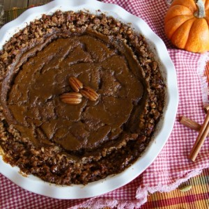 Pecan Crusted, Salted, Spiced Caramel Pumpkin Pie {Gluten-Free Recipe}