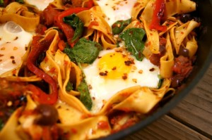 Sardinian Pasta Recipe with Fried Eggs