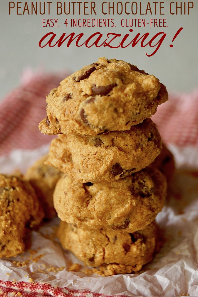 Stack of 4 Easy Peanut Butter Chocolate Chip Cookies on parchment