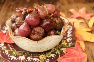 Thanksgiving Sides – Red Wine Braised Chestnuts and Pearl Onions