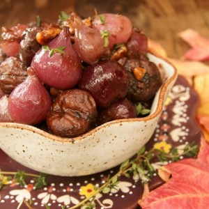 Thanksgiving Sides: Red Wine Braised Chestnuts and Pearl Onions