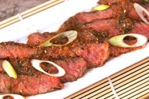 Grilled-Rib-Eye-Steak-Marinated-in-Asian-Spices and Korean Pear | cookingontheweekends.com
