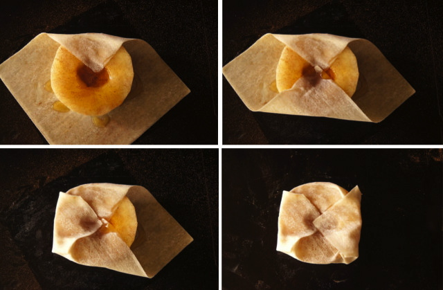 Honey Baked Korean Pears being wrapped in wonton wrappers