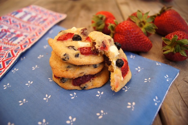 Strawberry-Blueberry White Chocolate Chip Cookies